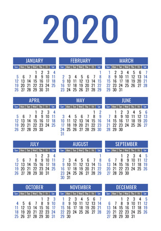 Calendar 2020 year. Vector design template. English vertical pocket calender. Week starts on Sunday
