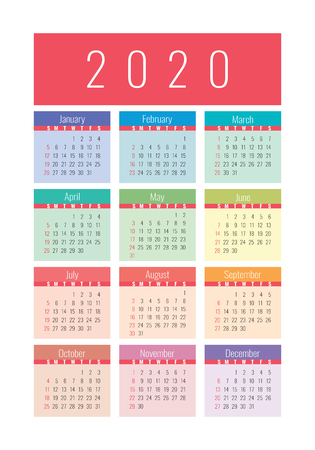 Calendar 2020 year. Vector design template. Colorful English vertical pocket calender. Week starts on Sunday