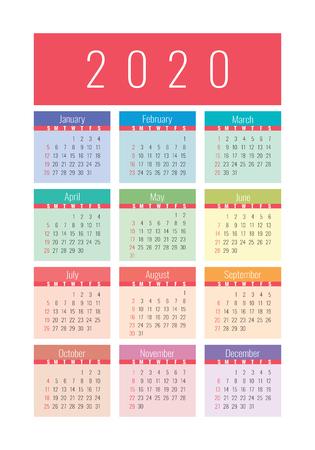 Kalender 2020 Jahr. Vektor-Design-Vorlage. Bunter englischer vertikaler Taschenkalender. Woche beginnt am Sonntag