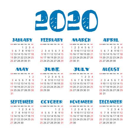 English calendar 2020 year. Vector square calender design template. Week starts on Sunday Illustration
