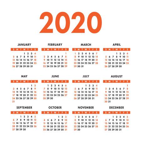 English calendar 2020 year. Vector square calender design template. Week starts on Sunday Ilustración de vector