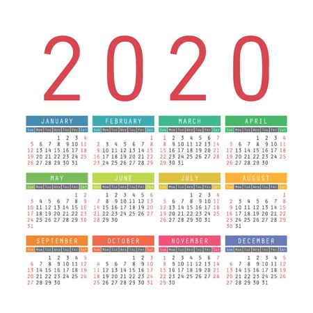 Calendario inglese 2020 anno. Modello di disegno del calendario quadrato di vettore. La settimana inizia di domenica