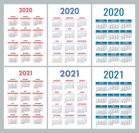 Kalender 2020, 2021 Jahre. Bunte Vektor-Set. Woche beginnt am Sonntag. Designvorlage für einen vertikalen englischen Kalender