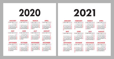 Calendrier 2020, 2021. Modèle de conception de calendrier vectoriel carré. Ensemble coloré anglais. La semaine commence le dimanche. Nouvel An Vecteurs
