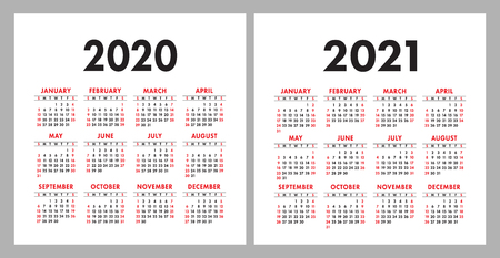 Kalender 2020, 2021. Designvorlage für quadratische Vektorkalender. Englischer bunter Satz. Woche beginnt am Sonntag. Neujahr Vektorgrafik