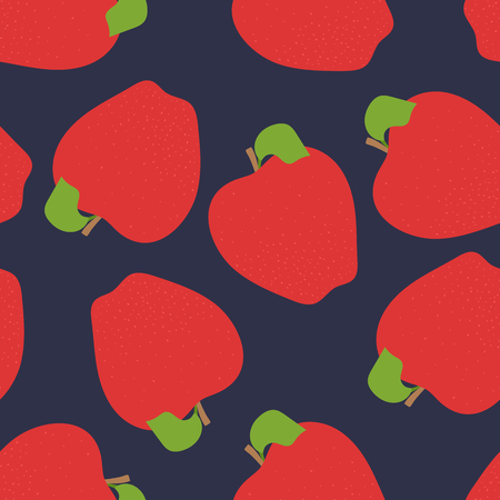 Apple seamless pattern. Hand drawn fresh fruit. Vector sketch background. Fashion design. Food print for clothes or dishcloth