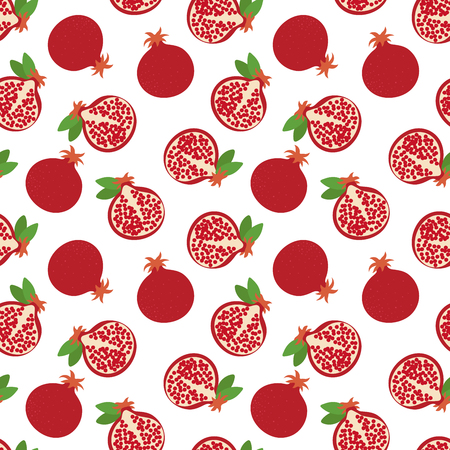 Garnet seamless pattern. Hand drawn fresh pomegranate. Vector sketch background. Color doodle wallpaper. Exotic tropical fruit. Fashion design. Food print for kitchen tablecloth, curtain or dishcloth 일러스트