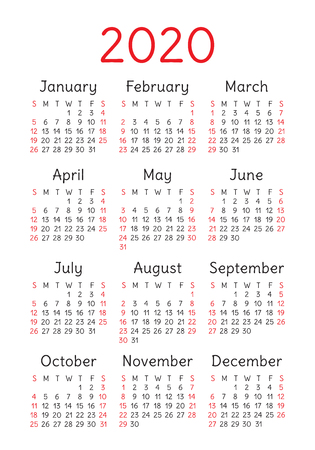 Calendar 2020 year. Vector design template. English vertical pocket calender. Week starts on Sunday