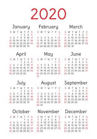 Calendario 2020 anno. Modello di disegno vettoriale. Calendario inglese tascabile verticale. La settimana inizia di domenica Vettoriali