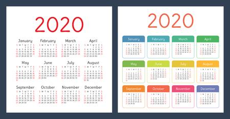 Calendar 2020 year. Vector design template set. Colorful pocket calender. Week starts on Sunday