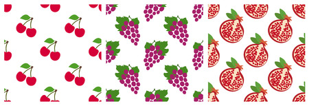 Cherry, grapes and garnet. Garden fruit and berry seamless pattern set. Fashion design. Food print for clothes, linens or curtain. Hand drawn vector sketch background collection