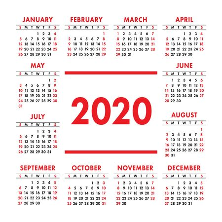 Calendar 2020 year. Vector design template. Color English square pocket calender. Week starts on Sunday