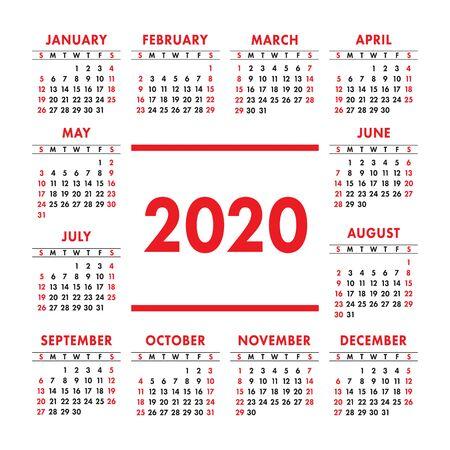 Calendrier 2020 année. Modèle de conception de vecteur. Calendrier de poche carré anglais de couleur. La semaine commence le dimanche