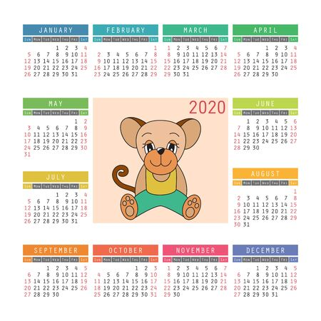Calendar 2020. Rat symbol of the new year. Vector design template. Chinese horoscope. Colorful English square pocket calender. Week starts on Sunday. Cartoon mouse