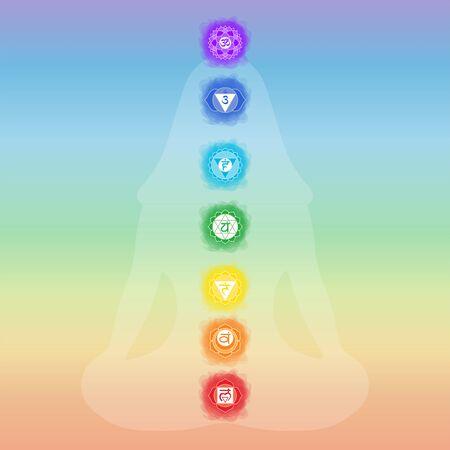 Chakras: muladhara, swadhisthana, manipura, anahata, vishuddha, ajna, sahasrara. Vector line symbol. Om sign. Silhouette of a girl in a lotus pose. Smoky circles. Watercolor style. Sacral icon. Meditation Ilustração