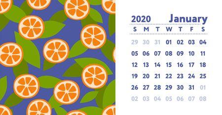Calendar 2020. January month. Vector English wall calender. Orange and mandarin slice. Seamless pattern. Hand drawn fruits sketch