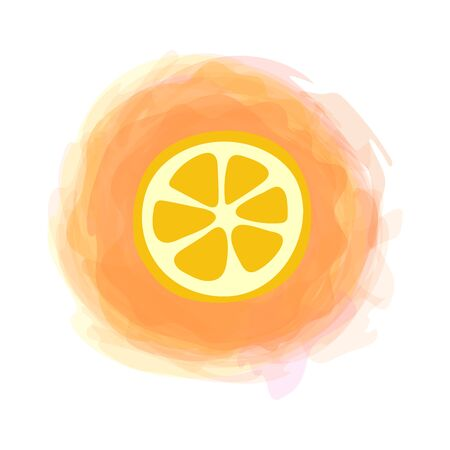 Orange slice. Sketch isolated fruit on watercolor round background. Hand drawn doodle vector. Organic food label. Environmentally friendly product. Vegan cuisine. Vegetarian menu Illustration