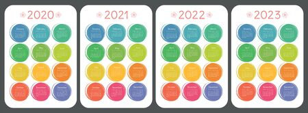 Calendar 2020, 2021, 2022 and 2023. Colorful kid's sketch doodle style. Color round hand drawn frames. English vector set. Vertical wall or pocket calender template. Design collection. New year. Week starts on Sunday