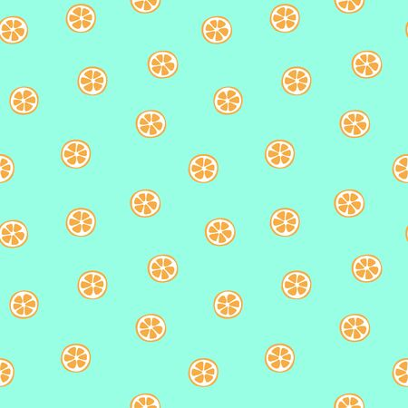 Kid's seamless pattern. Orange slice. Exotic citrus fruit fashion print. Design elements for baby textile or clothes. Hand drawn doodle repeating delicacies. Cute tropical wallpaper for children