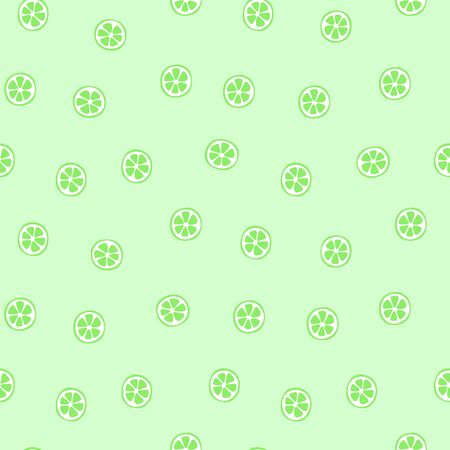 Kid's seamless pattern. Lime slice. Exotic citrus fruit fashion print. Design elements for baby textile or clothes. Hand drawn doodle repeating delicacies. Cute tropical wallpaper for children