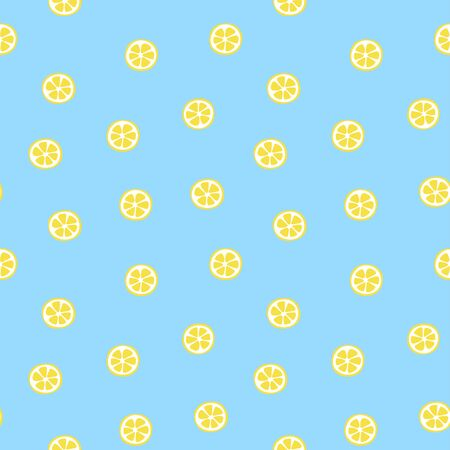 Kid's seamless pattern. Lemon slice. Exotic citrus fruit fashion print. Design elements for baby textile or clothes. Hand drawn doodle repeating delicacies. Cute tropical wallpaper for children