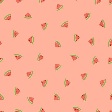 Kid's seamless pattern. Smiling watermelon. Exotic fruit fashion print. Design elements for baby textile or clothes. Hand drawn doodle repeating delicacies. Cute pink tropical wallpaper for children
