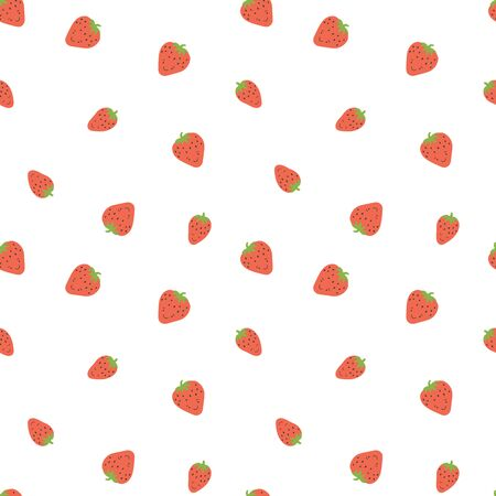 Kid's seamless pattern. Smiling strawberry. Fruit fashion print. Cartoon berry. Design elements for baby textile or clothes. Hand drawn doodle repeating delicacies. Cute wallpaper for children