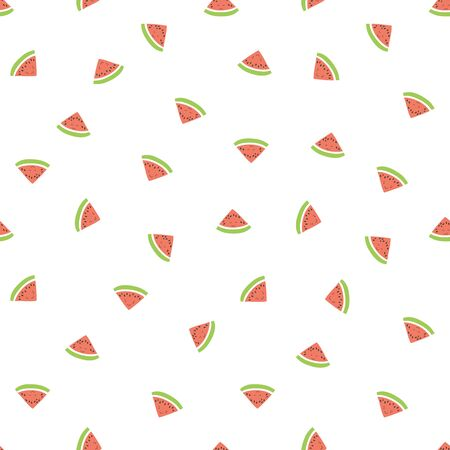 Kid's seamless pattern. Smiling watermelon. Exotic fruit fashion print. Design elements for baby textile or clothes. Hand drawn doodle repeating delicacies. Cute pink and white tropical wallpaper for children