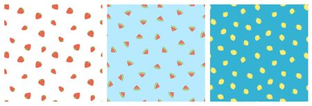 Kid's seamless pattern. Smiling strawberry, watermelon, lemon. Exotic fruit fashion print. Design elements for baby textile or clothes. Hand drawn doodle repeating delicacies. Cute tropical wallpaper for children