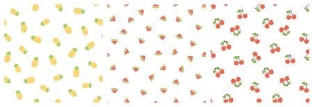 Kid's seamless pattern. Smiling pineapple, watermelon, cherry. Exotic fruit fashion print. Design elements for baby textile or clothes. Hand drawn doodle repeating delicacies. Cute tropical wallpaper for children