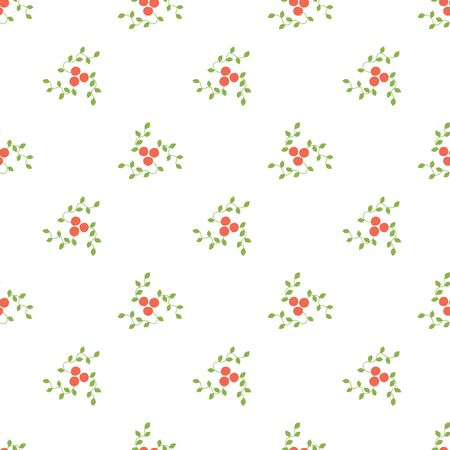 Seamless pattern. Mountain ash and viburnum. Vector red berries. Kid's fashion print. Design elements for textile or clothes. Hand drawn doodle repeating delicacies. Cute background patterns for baby items Ilustracja