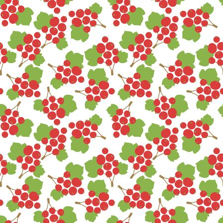Red currant seamless pattern. Vector berries. Fashion print. Design elements for textile or clothes. Hand drawn doodle repeating delicacies. Cute background patterns for baby items