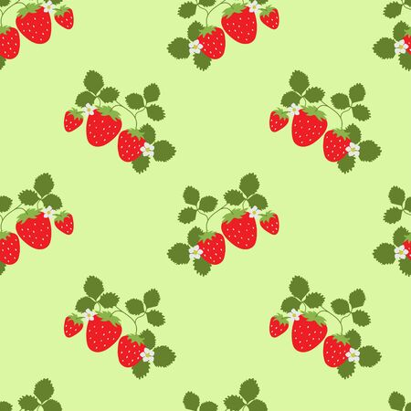 Strawberry seamless pattern. Vector berries. Fashion print. Design elements for textile or clothes. Hand drawn doodle repeating delicacies. Cute background patterns for baby items