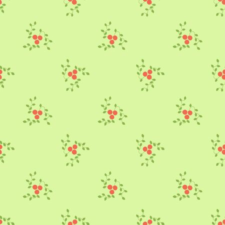 Seamless pattern. Mountain ash and viburnum. Vector red berries. Kid's fashion print. Design elements for textile or clothes. Hand drawn doodle repeating delicacies. Cute background patterns for baby items Иллюстрация