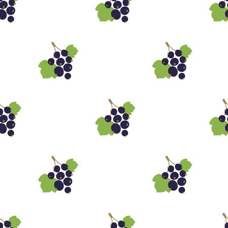Black currant seamless pattern. Vector berries. Kid's fashion print. Design elements for textile or clothes. Hand drawn doodle repeating delicacies. Cute background patterns for baby items