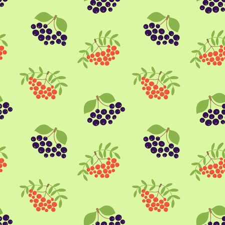 Mountain ash and black chokeberry. Seamless pattern. Vector berries. Organic healthy food. Fashion print. Design elements for textile or clothes. Hand drawn doodle repeating delicacies. Cute background patterns for baby items Иллюстрация