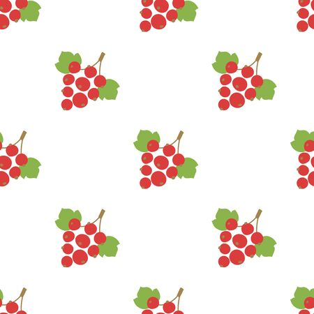 Red currant seamless pattern. Vector berries. Kid's fashion print. Design elements for textile or clothes. Hand drawn doodle repeating delicacies. Cute background patterns for baby items
