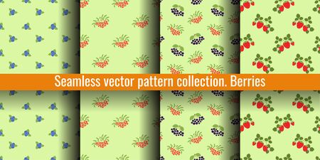 Seamless pattern set. Vector berries. Natural fashion print collection. Mountain ash, viburnum, rowan, blueberry, black chokeberry and strawberry. Textile, clothes. Food backgrounds. Vegan menu design