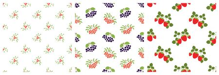 Seamless pattern. Mountain ash, viburnum, black chokeberry, rowan and strawberry. Vector berries. Natural fashion print. Design elements for textile or clothes. Hand drawn doodle repeating delicacies. Food background patterns. Vegan menu