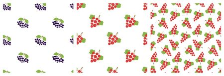 Black chokeberry and red currant. Seamless pattern. Vector berries. Natural fashion print. Design elements for textile or clothes. Hand drawn doodle repeating delicacies. Food background patterns. Vegan menu Иллюстрация