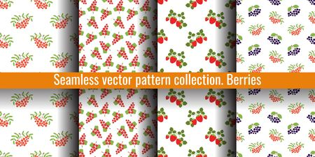 Mountain ash, rowan, viburnum, black chokeberry, strawberry and red currant. Seamless pattern set. Vector berries. Natural fashion design print collection.  Textile or clothes. Healthy food backgrounds Illustration