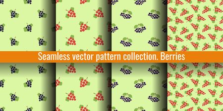 Seamless pattern set. Vector berries. Natural fashion print collection. Design elements for textile or clothes. Food background. Rowan, black chokeberry, black and red currants. Vegan menu Illustration