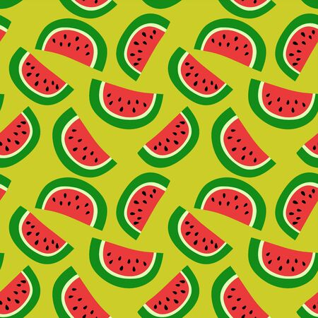 Watermelon seamless pattern. Red berry. Sweet exotic tropical fruit. Fashion design. Food print for dress, textile or linens. Hand drawn vector sketch background. Vegan menu Stock Illustratie