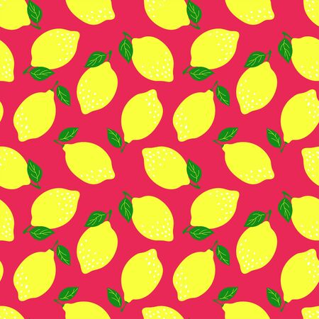 Lemon fruit seamless pattern. Fashion design. Food print for kitchen tablecloth, curtain or dishcloth. Vector citrus sketch background. Hand drawn doodle wallpaper