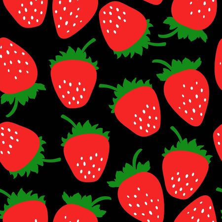 Strawberry seamless pattern. Clothing fashion design. Hand drawn doodle fresh berry. Vector sketch background. Food print for dress or skirt Stock Illustratie