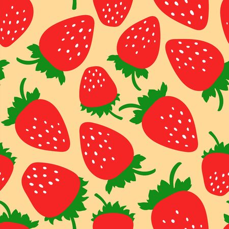 Strawberry seamless pattern. Hand drawn fresh berry. Vector sketch background. Food print for dress, kitchen curtain or tablecloth. Doodle wallpaper
