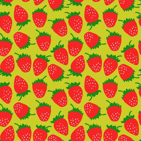 Strawberry seamless pattern. Clothing fashion design. Hand drawn fresh berry. Vector sketch background. Food print for dress, kitchen curtain or tablecloth. Doodle wallpaper