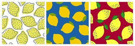 Lemon fruit seamless pattern set. Fashion design. Food print for dress, curtain or dishcloth. Hand drawn doodle wallpaper. Vector citrus sketch background