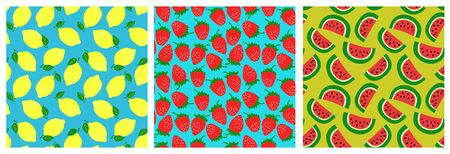 Watermelon, strawberry, lemon. Fruit seamless pattern set. Fashion clothing design. Food print for dress, skirt, linens or curtain. Hand drawn vector sketch background collection
