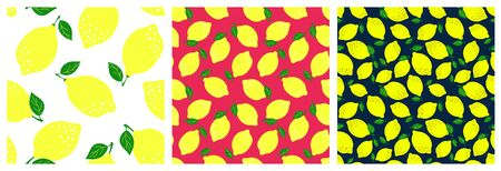 Lemon fruit seamless pattern set. Fashion clothing design. Food print for dress, skirt, linens or curtain. Hand drawn vector sketch background collection